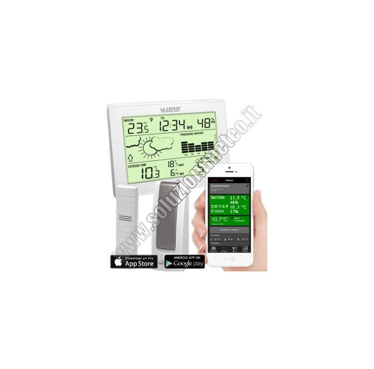 KIT La Crosse MA 10006 Mobile-Alerts Gateway LAN Sensore wireless di temperatura esterna e consolle interna